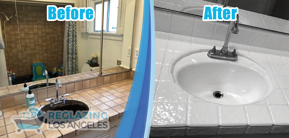 bathroom sink recolor before after