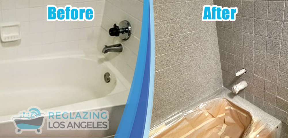 bathroom tile wall stone flecks before after