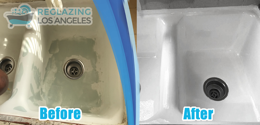 kitchen sink refinishing before after