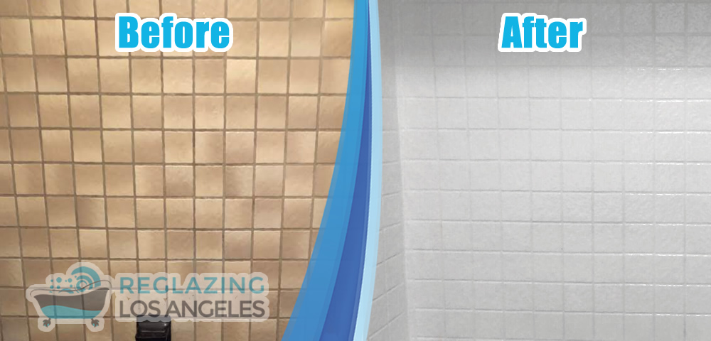 tile wall recolor before after